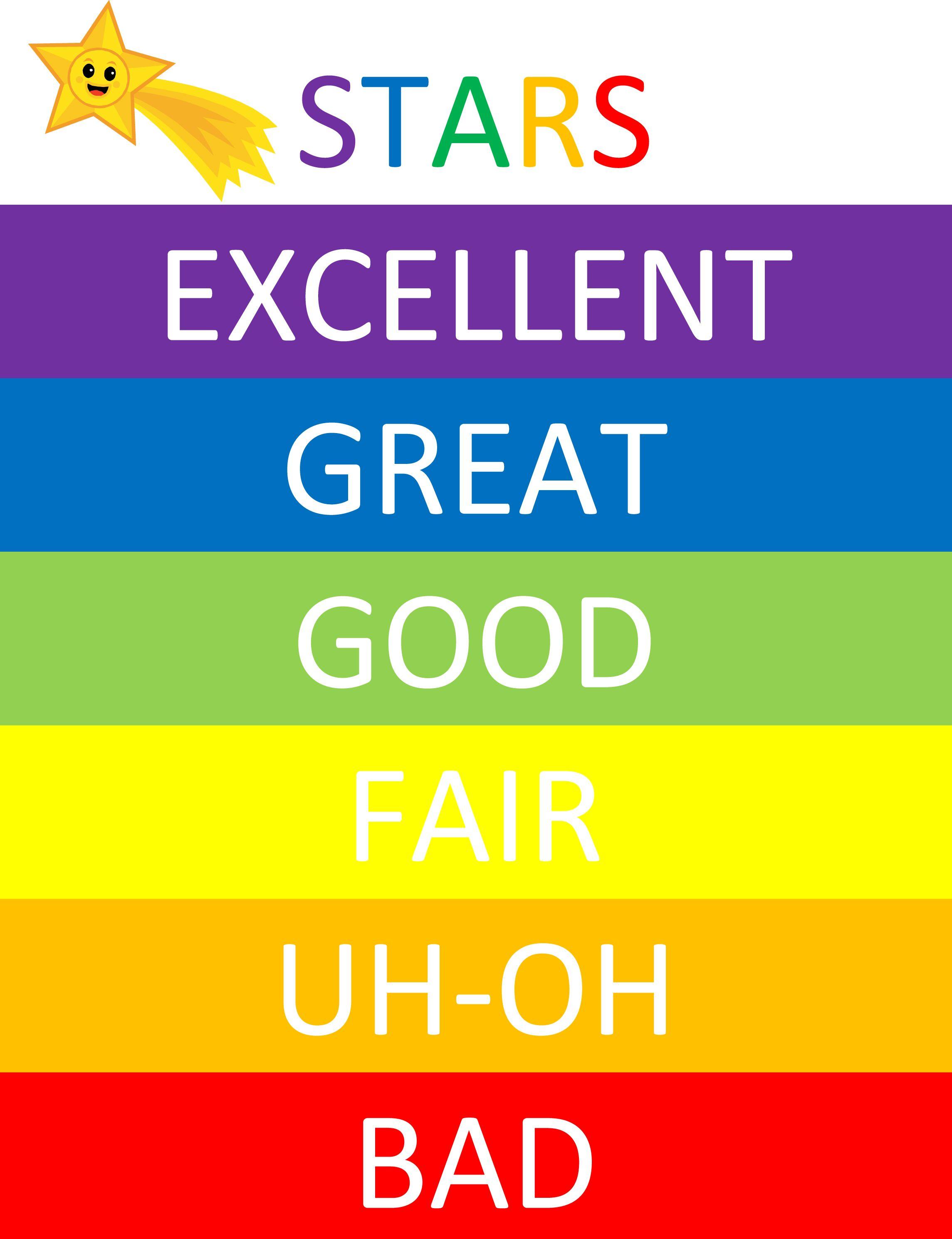 Color chart rainbow - Kids Behavior Chart Free Printable