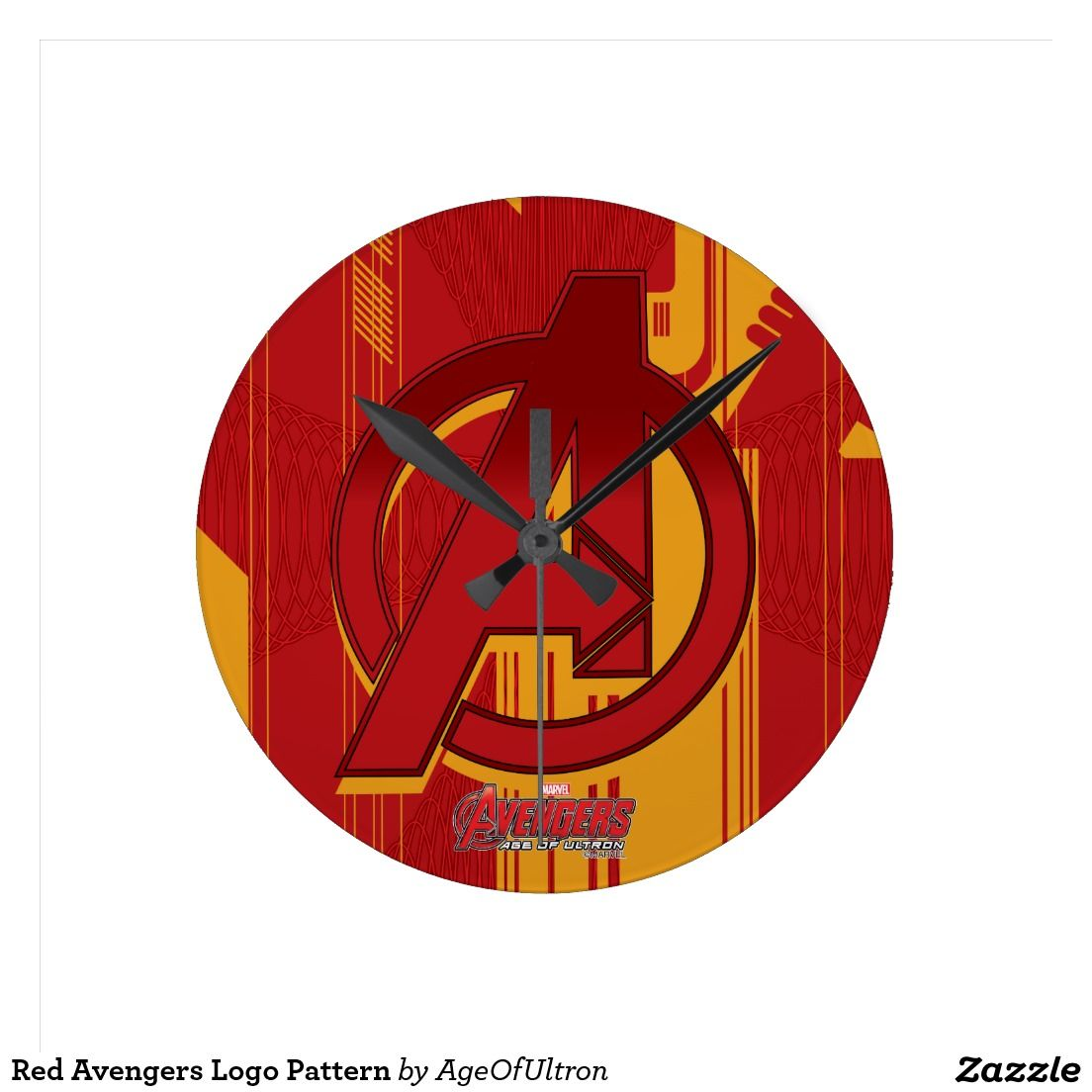 Red avengers logo pattern round wall clocks avengers age of explore wall clocks avengers age and more amipublicfo Images