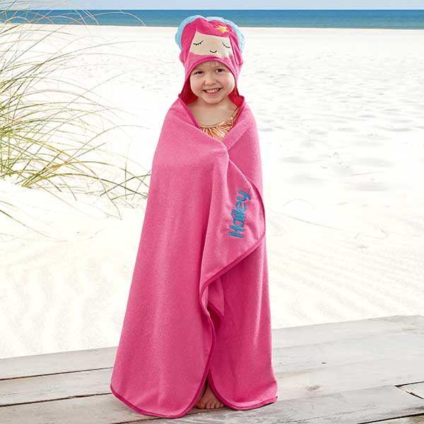 Embroidered Mermaid Kids Hooded Beach Towel Mermaid Kids Beach