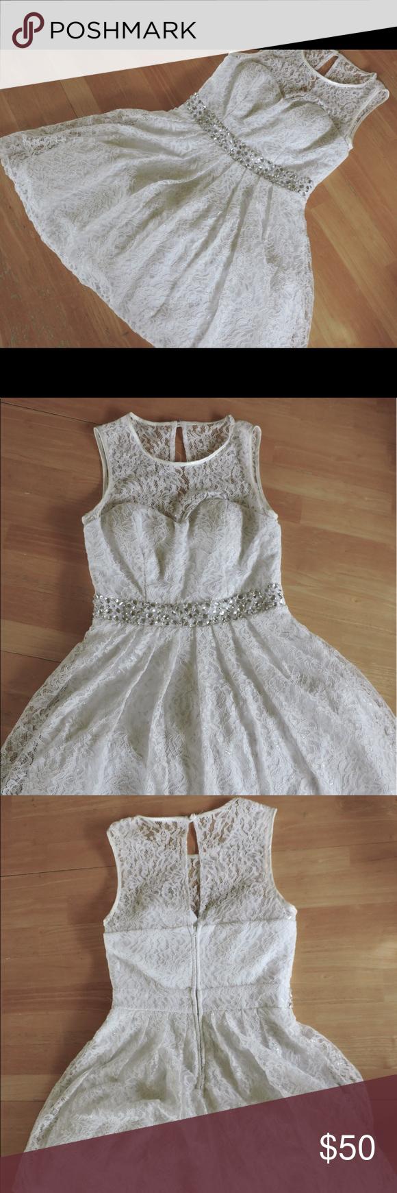 Nwotb darlin snow queen white dress illusion neckline