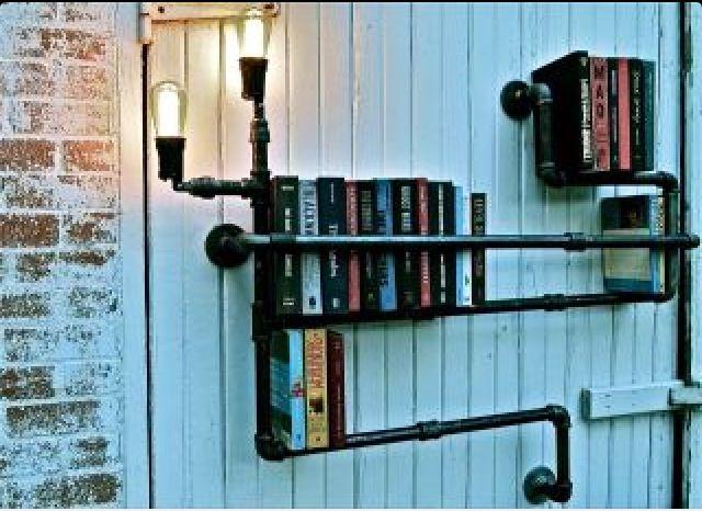 Hipster Book Shelf Industrial Bookshelf Lighting Pipe Cool Bookshelves