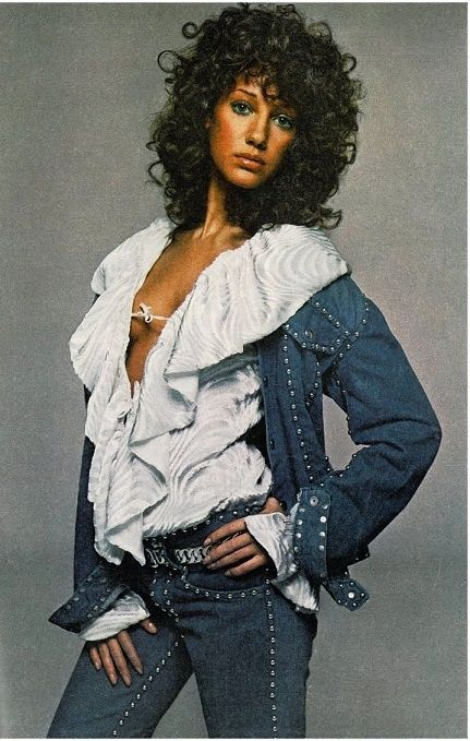 Marisa Berenson wearing Levi Strauss for Vogue US, January 1971 .