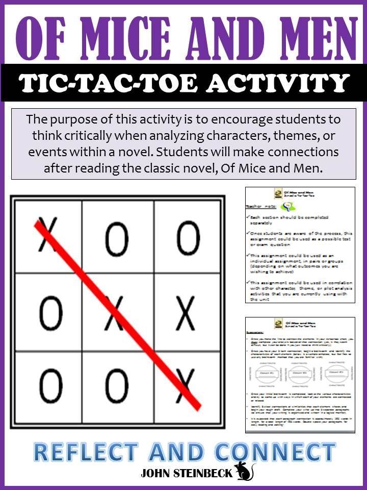 bbc bitesize gcse english literature of mice and men of mice  of mice and men tic tac toe novel analysis activity