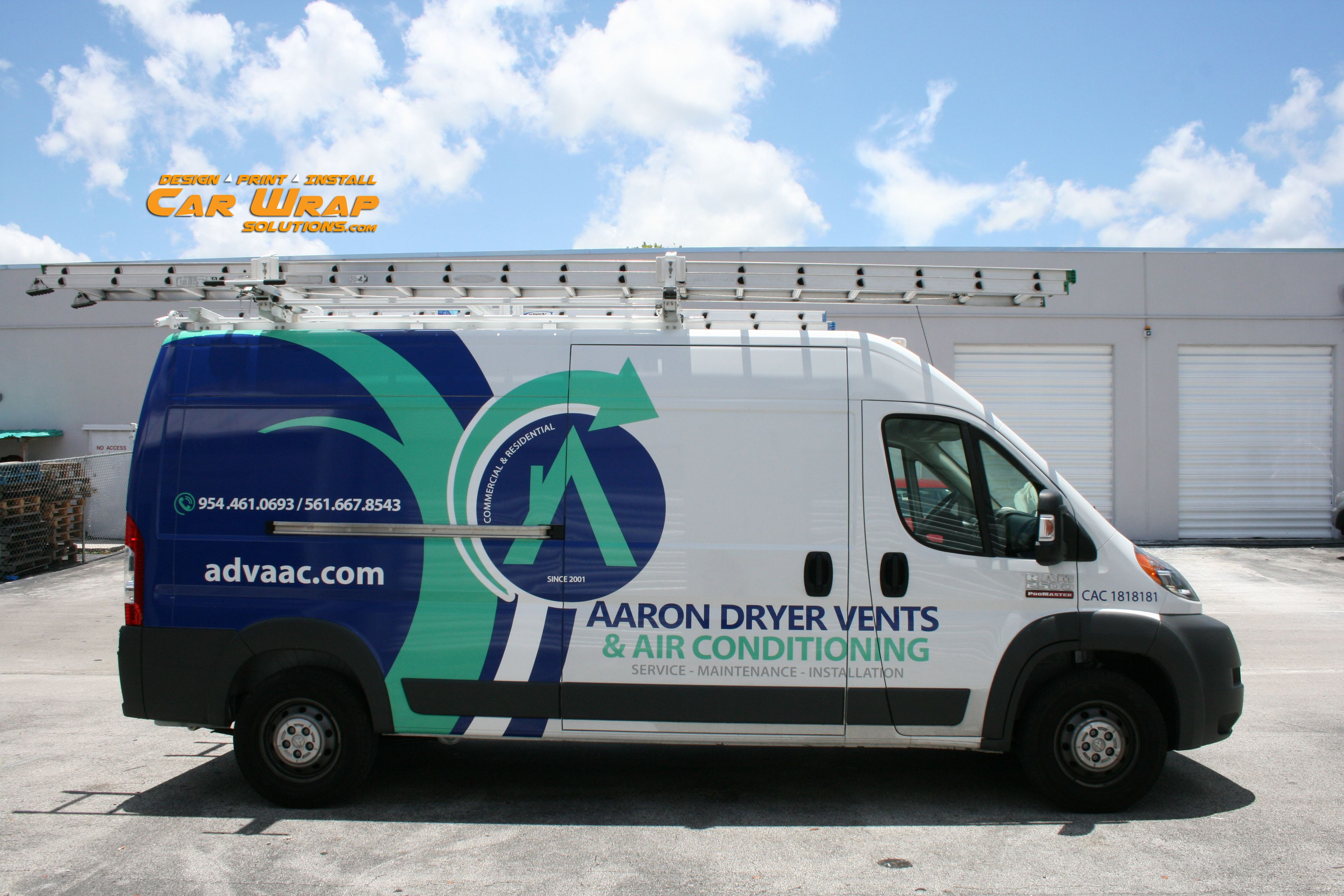 Ram promaster van commercial air conditioning graphics lettering davie florida http carwrapsolutions