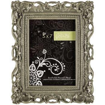 "5"" x 7"" Gray Glossy Ornate Resin Frame"