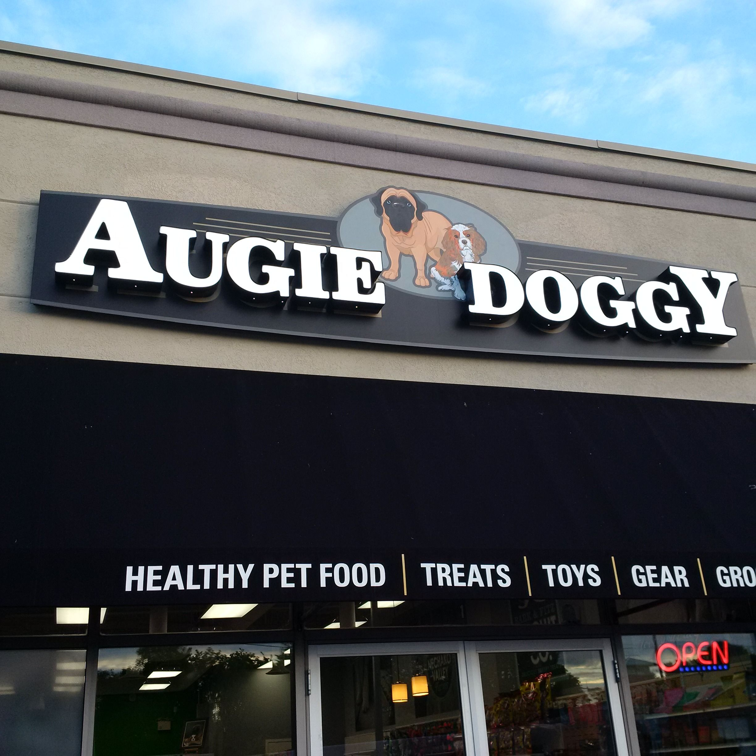 Auggy Doggy Whitby Channel Letters and Storefront signage