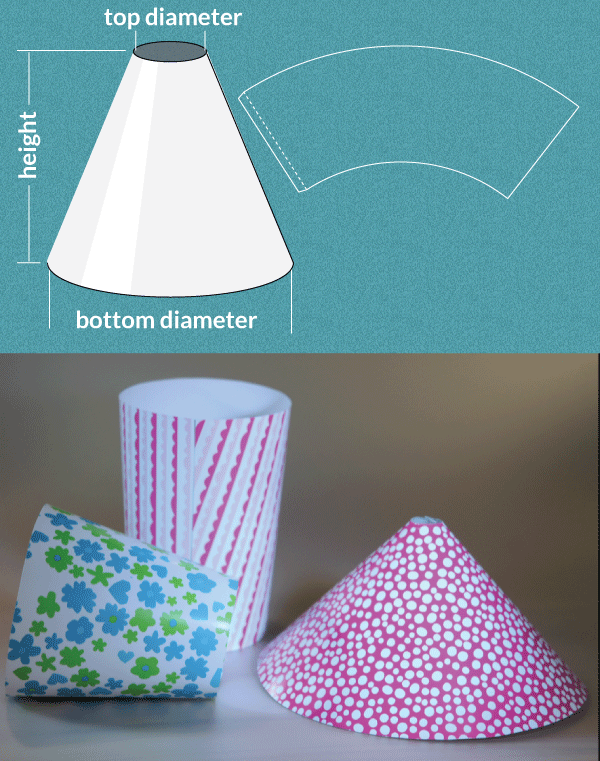 Completely custom sized template for a truncated cone great for completely custom sized template for a truncated cone great for making your own lamp shades diyprojects aloadofball Choice Image