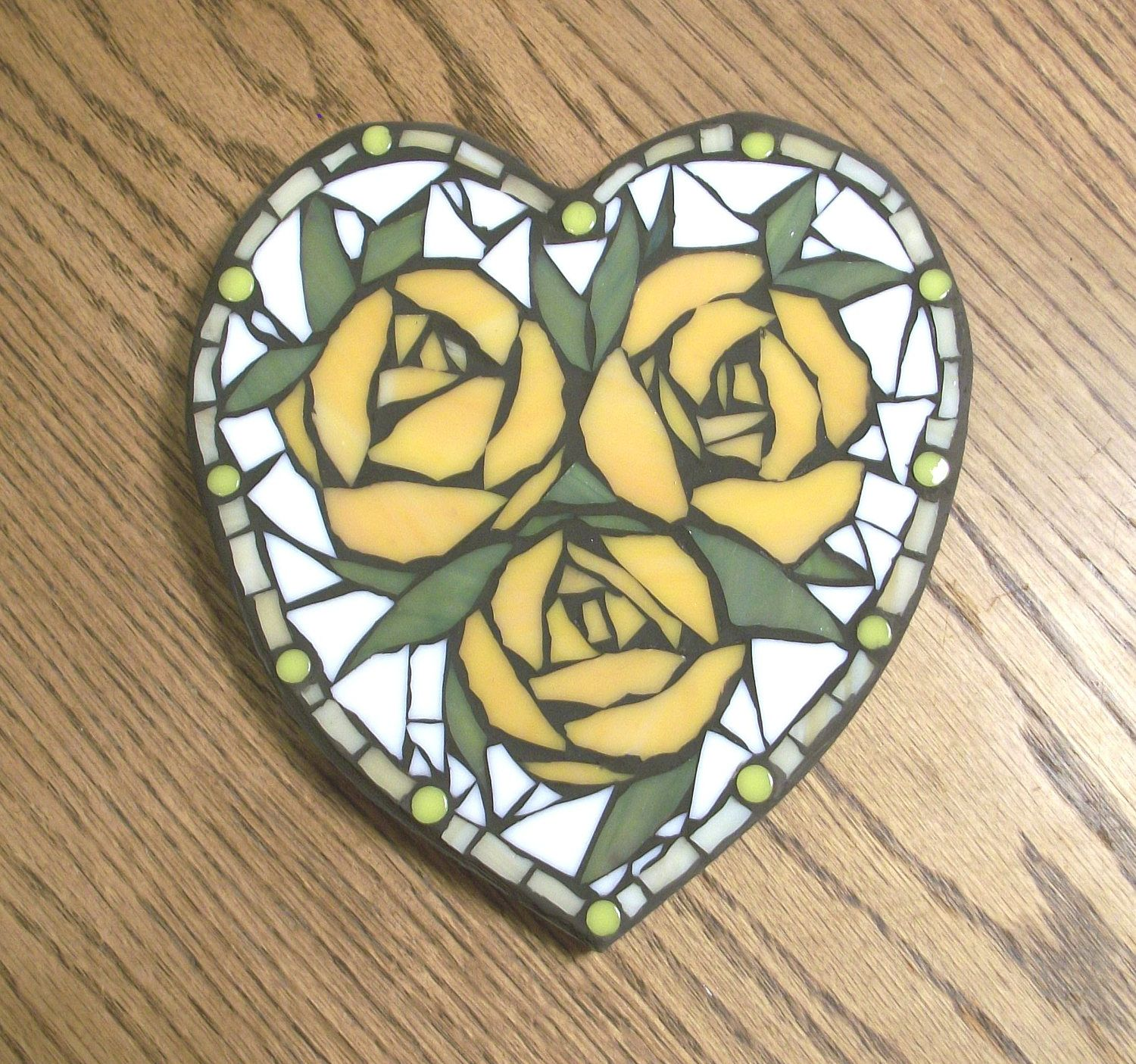 7x8 inch Orange Rose Heart Mosaic Wall Art Plaque,Roses,flowers ...