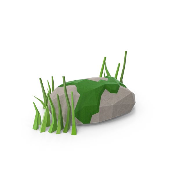 Low Poly Rock with Grass Object