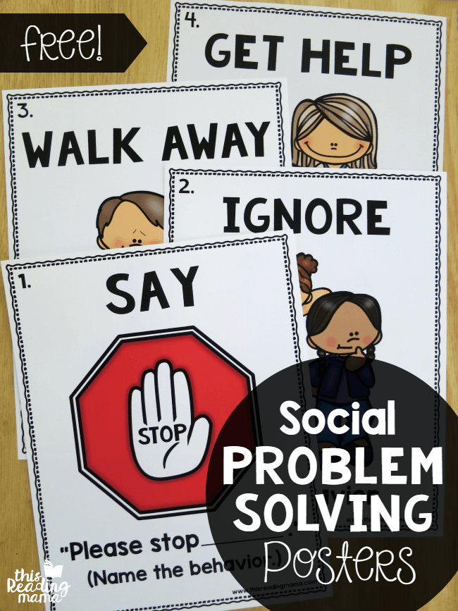 Social Problem Solving Posters Free This Reading Mama Social Skills Teaching Social Skills Social Emotional Learning