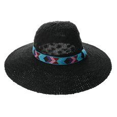 54a14830f38 Black Floppy Aztec Print Straw Hat