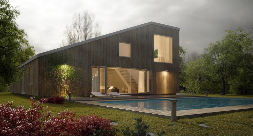 EXTERIOR DUSK Plan 2 étages Pinterest - plan maison en forme de u