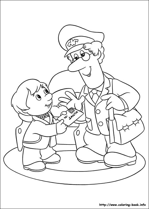 Postman Pat And Letter To Santa Coloring Pages For Kids, Printable Free
