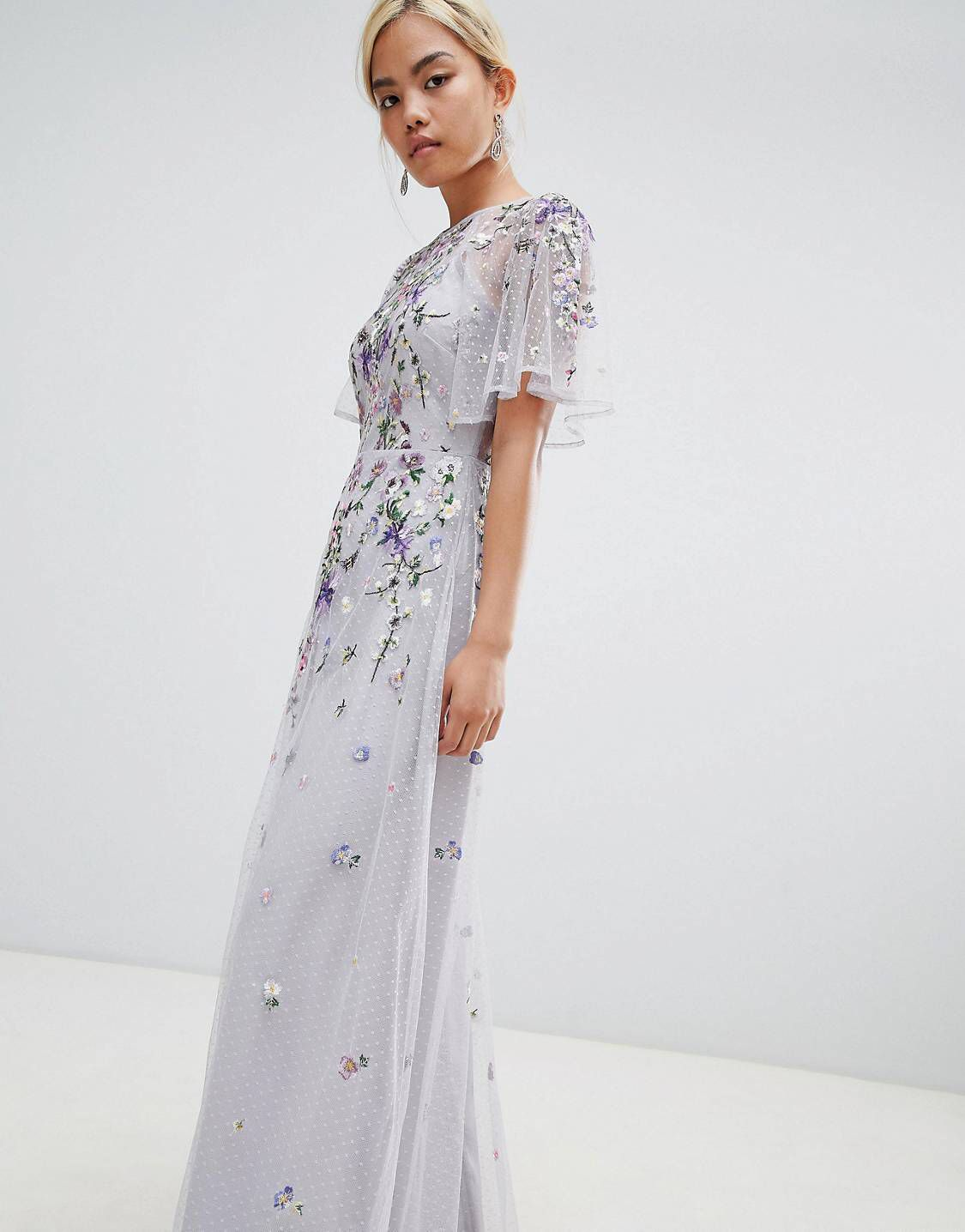 c68b6f5b1e Asos Wedding Floral Embroidered Dobby Mesh Flutter Sleeve Maxi Dress ...