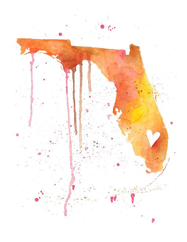 5x7 Or 8 5x11 Florida Love Watercolor Map Print Wedding Gift