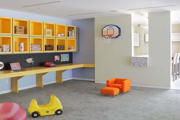 Basement Playroom Ideas Orange Mini Sofa