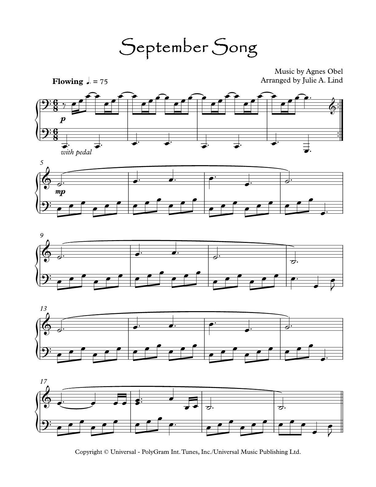 September Song By Agnes Obel Piano Sheet Music September Song