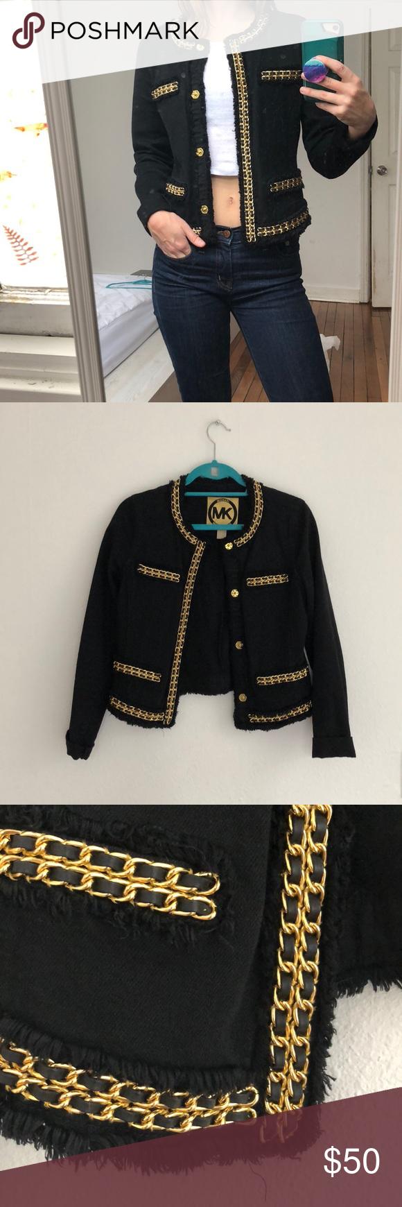 9f61dc1d6 Michael Kors Denim Jacket Michael Kors Black Denim Jacket with ...