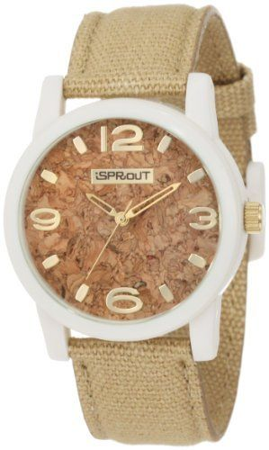 Sprout Men's ST/5511CKKH Organic Cork Dial Khaki Cotton Strap Corn Resin Watch Sprout. $50.00. Large round 38mm ivory corn-resin bio-degradable case. Gold-tone skeleton style hour and minute hands, stick second hand. Khaki organic cotton strap stitched and slightly padded with corn resin buckle closure. Gold-tone ribbed crown. Genuine cork dial with gilt arabic 3, 6, 9 & 12 and stick markers at all other hour indexes