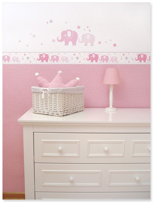 zuckers e babyzimmer bord re und wandsticker mit elefanten und sternen in rosa grau von dinki. Black Bedroom Furniture Sets. Home Design Ideas