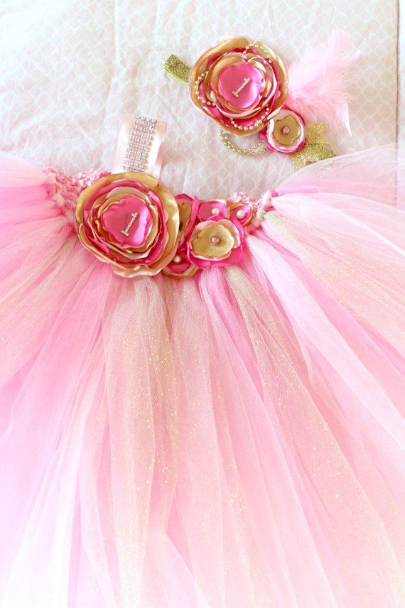 65788eae45d5 Gorgeous Beautiful Light Pink, Hot Pink, and Gold Satin Shabby Chic Flower Tutu  Dress for Baby Girl