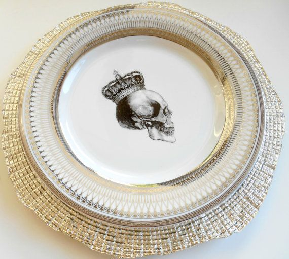Silver Skull Dishes - Foodsafe Dinnerware Skull Plates Goth Dishes Halloween China Skull China Skeleton Plates Payment Plans Available & Silver Skull Dishes - Foodsafe Dinnerware Skull Plates Goth Dishes ...