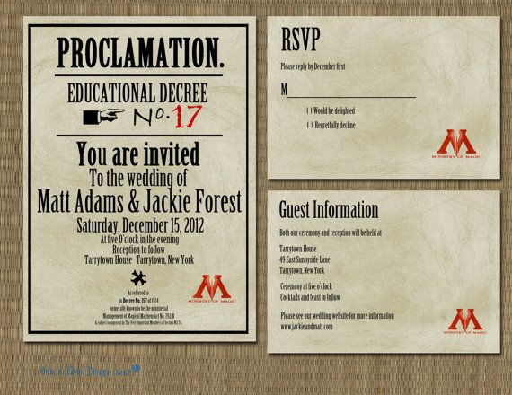 Printable Harry Potter Proclamation Wedding Invitation 2000