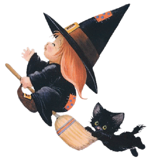 cute halloween baby witches cartoon clip art images are on a transparent background - Halloween Witch Cartoon