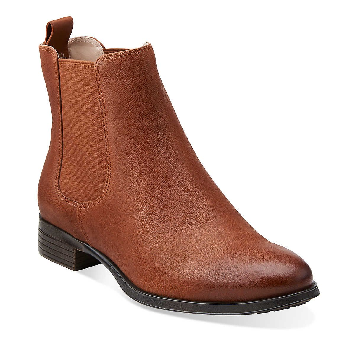 Mariella Busby in Dark Tan Leather - Womens Boots from Clarks