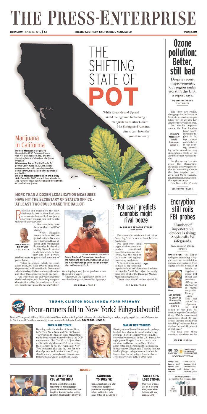 THE PRESS-ENTERPRISE 4/20/16 via Newseum | Editorial y Periodicos