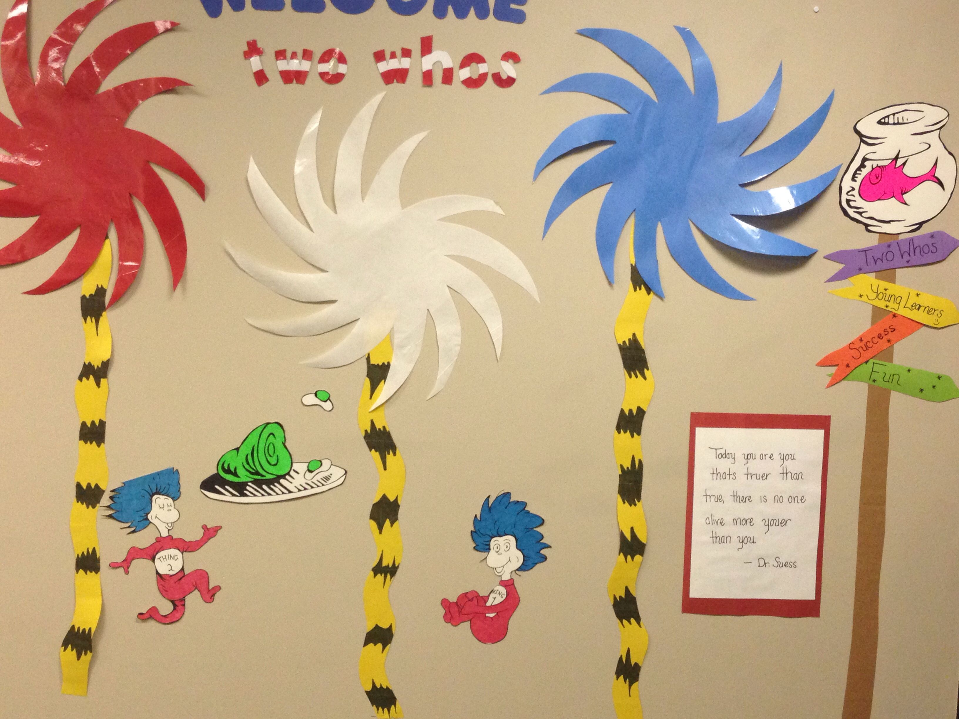 Dr Suess Classroom Theme Bulletine Board Welcome Board Two Whos Welcome Sign For Parents