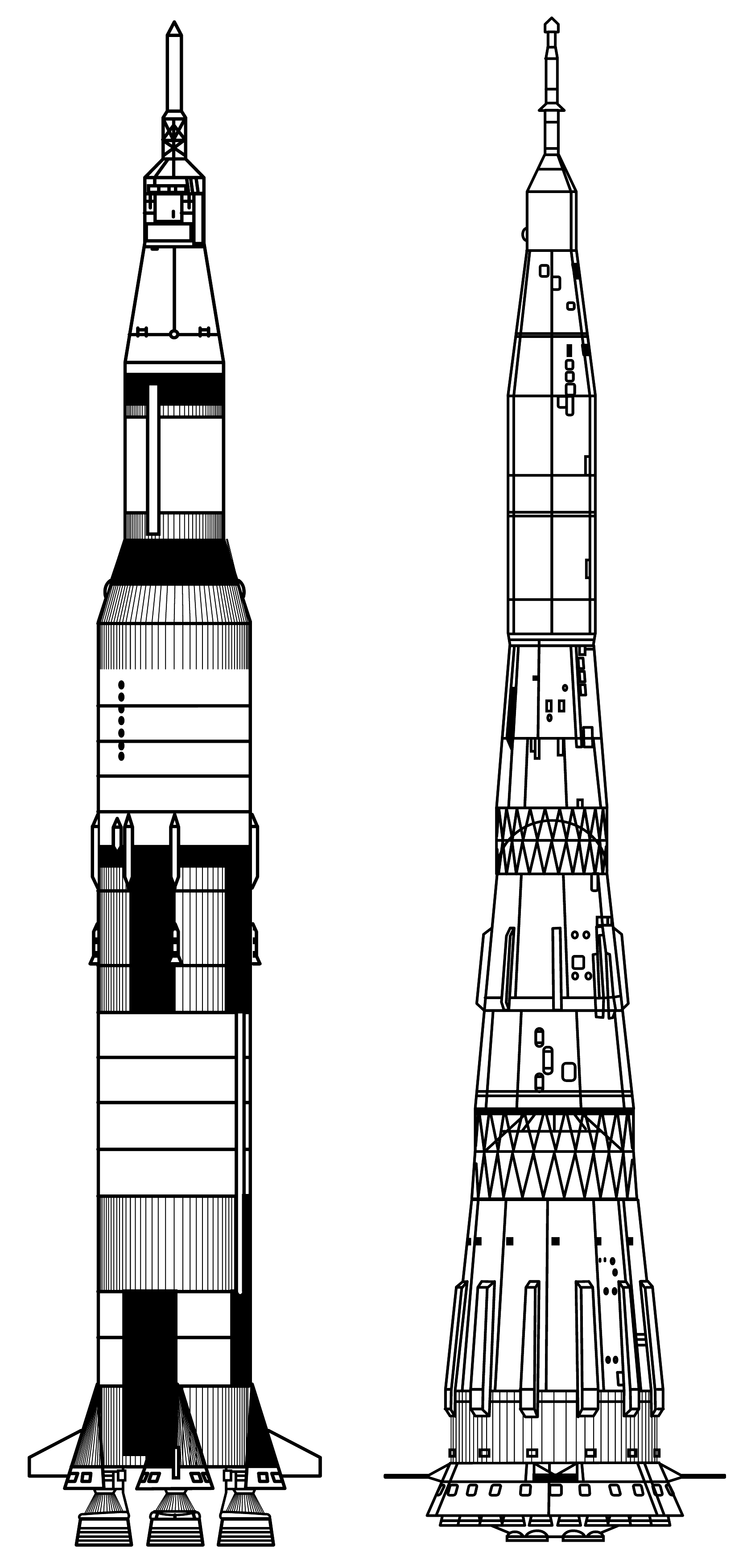 Saturn_V_vs_N7  Raketen tattoo, Raumfahrt, Rakete