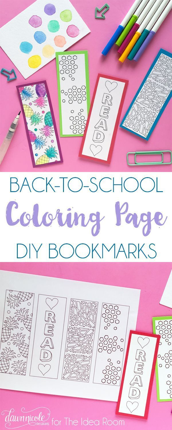 Back to School Coloring Page Bookmarks