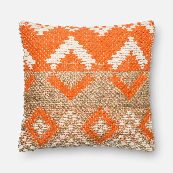 Orange Beige Square P0334 Pillow Beige Pillows Couch