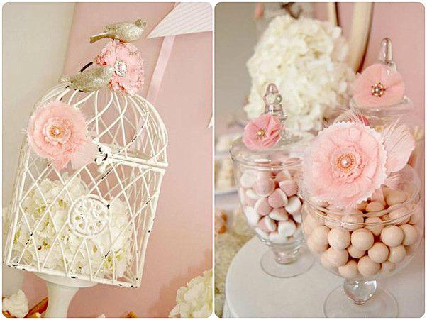 ideen babyparty m dchen vogelk fig wei e hortensie rosa blumen deko happy pinterest. Black Bedroom Furniture Sets. Home Design Ideas
