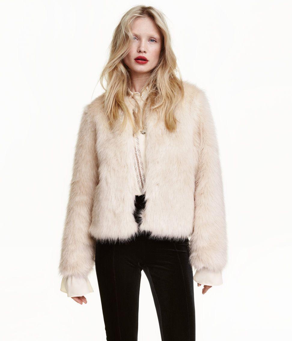 Check this out! Short faux fur jacket with concealed hook-and-eye ...