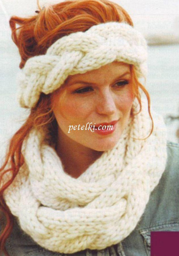 как связать спицами ободок на голову | Вязание повязка на голову ...