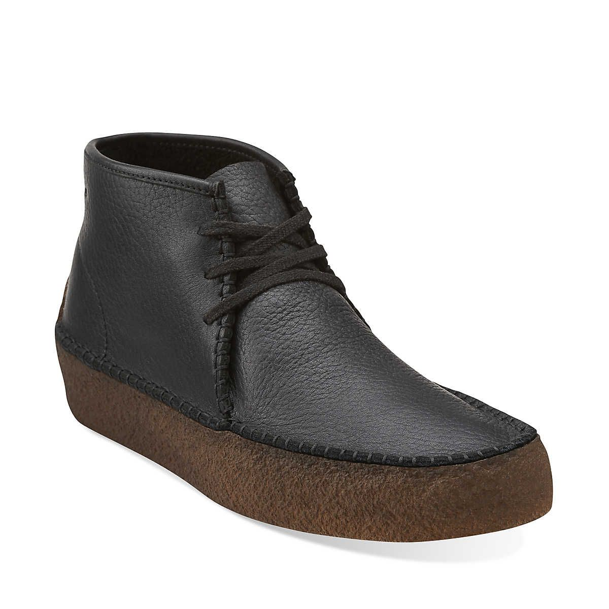 Wallabee Ridge In Black Tumbled Leather Mens Boots From