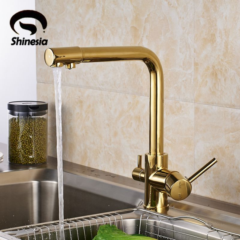 Luxury Gold Solid Brass Kitchen Sink Faucet Double Handles Pure Water Mixer Tap  Drinking Water Tap