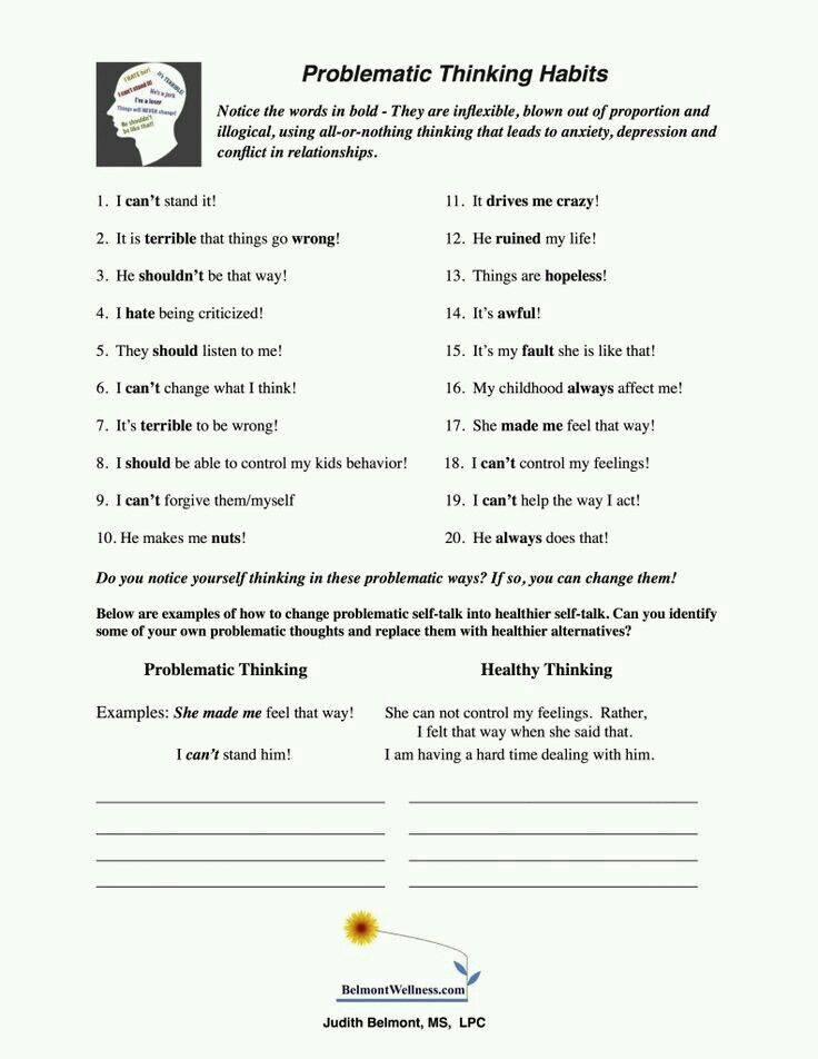 Problematic Thinking Habits | Therapy worksheets ...