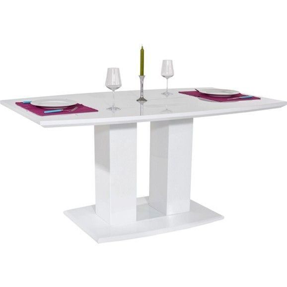 Étkezőasztal, magasfényű fehér MDF lappal, terhelhetőség: kb. Max ...