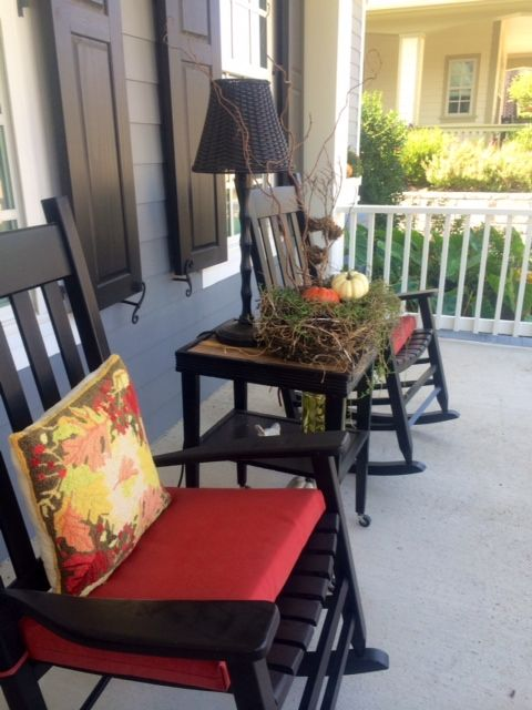 Inviting Fall Front Porch At This Tucker Hill Mckinney Tx Home Outdoor Chairs