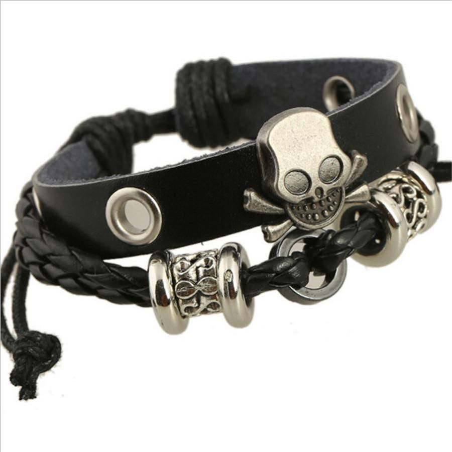 Biker skull leather rope chain bracelet skull bracelet and products