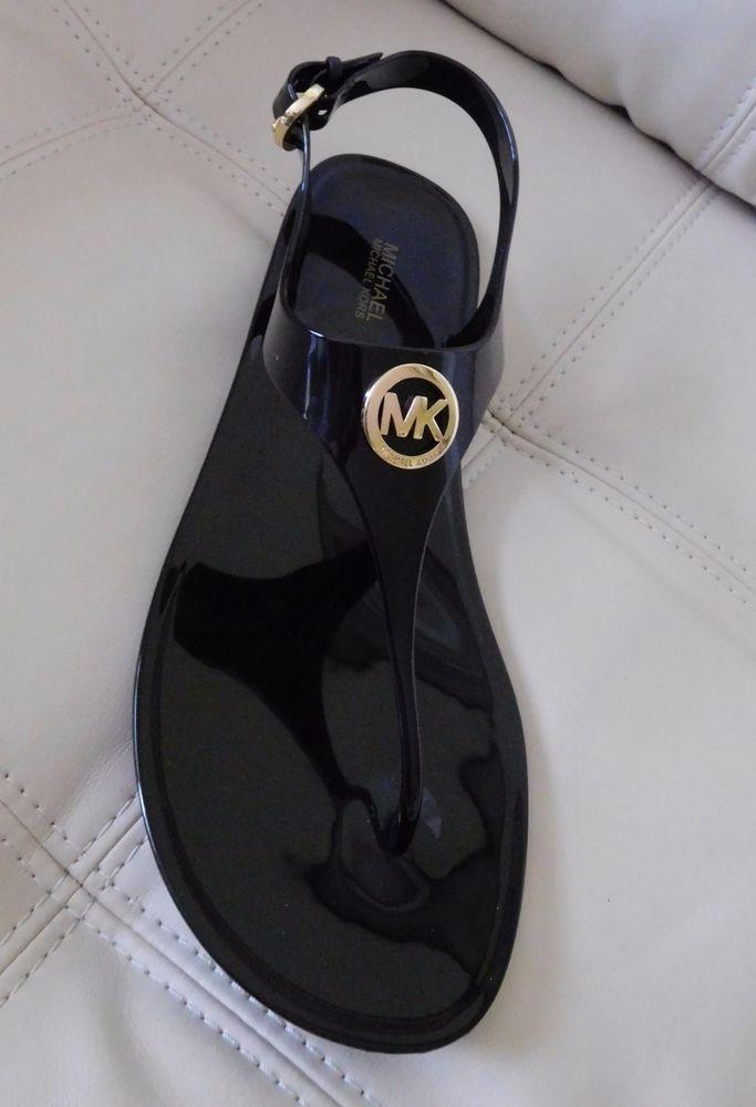 23a95a7bc New Michael Kors Jelly Sandals PVC Black Size 10M * #MichaelKors #TStrap