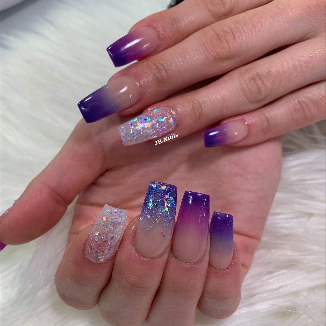Purple Ombre Acrylic Nails Ombre Nails All Acrylic Acrylic Powder Acrylic Colour Coffin Nails Lilac Nails Design Ombre Acrylic Nails Purple Ombre Nails