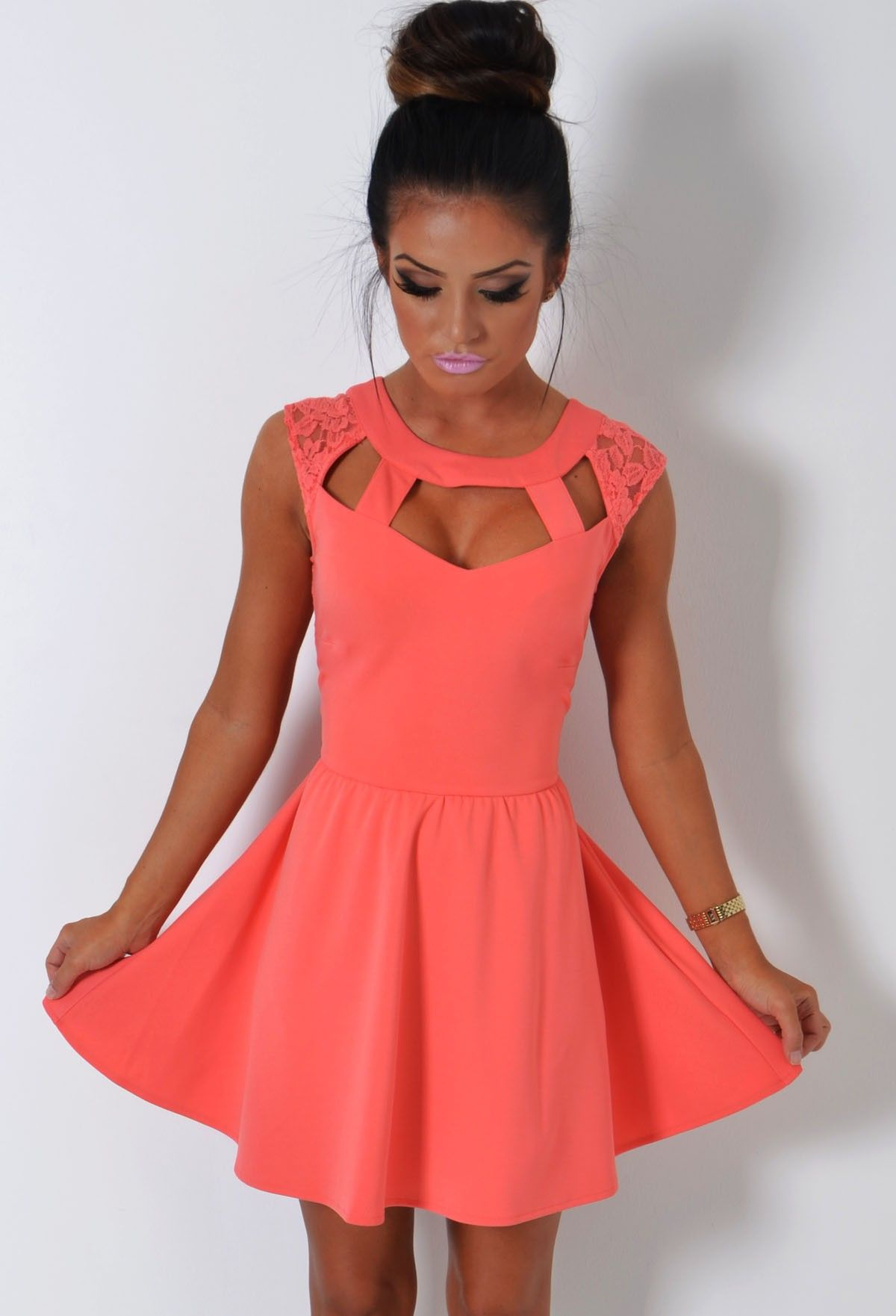 Closet triangle cut out back dress - Trouble Maker Coral Cage Cut Out Lace Skater Dress
