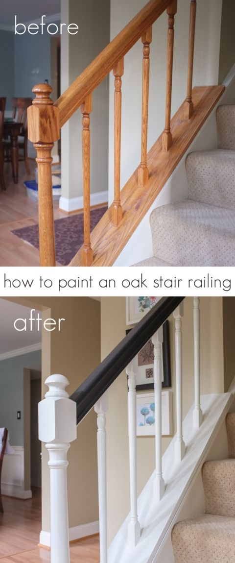Best How To Paint An Oak Stair Railing Black And White Oak Stairs 400 x 300