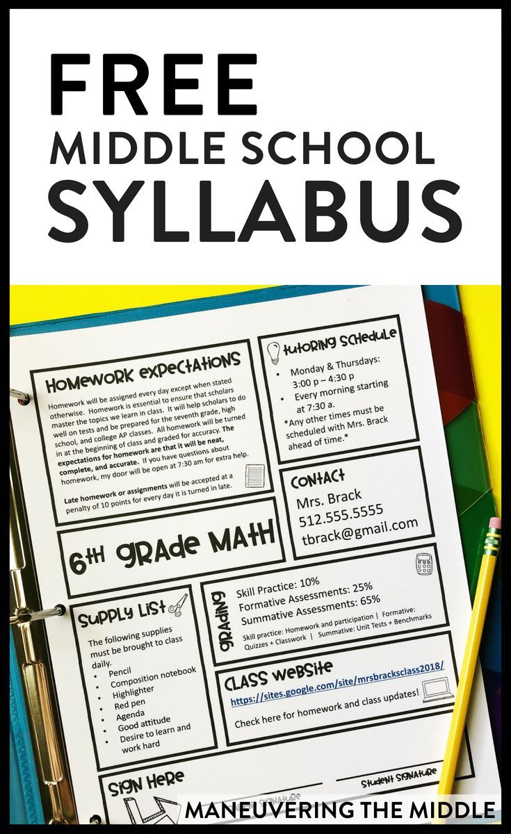 Free Middle School Syllabus is part of Middle school syllabus, Teaching middle school, Middle school reading, Middle school classroom, School classroom, Middle school math classroom - Your class syllabus does not have to be boring! In fact, it can be interesting and informative  Read on to get your hands on a free, editable syllabus