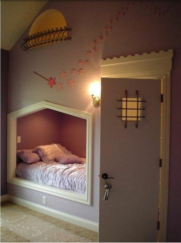 Kinderzimmer ideen für mädchen schräge  einrichtungsideen jugendzimmer dachschräge eingebautes bett ...