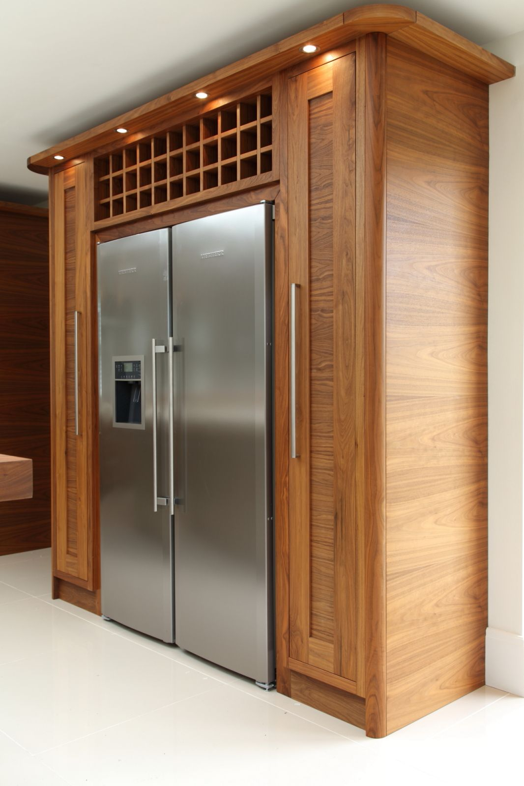 Large Fridges And Freezers Part - 34: Tall Pull-out Storage And Wine Rack Surround The Liebherr Side By Side Fridge  And